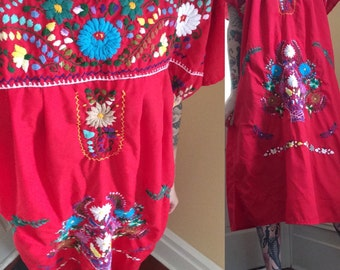 Red Mexican Embroidered Peasant Dress // Boho  Dress // Festival Dress // Hippie Dress
