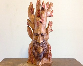 "Original hand carved 12"" green man wood spirit woodspirit wooden sculpture true carving woodland folk art rustic home decor collectible"