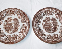 """2 Franciscan England TONQUIN Brown Transferware 9.75"""" Dinner Plates, ca. 1970s"""