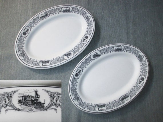 "2 Shenango Restaurantware 11.5"" Oval Platters Chop Plates, Black Border, Steam Locomotives (Railroad Trains), c. 1970"