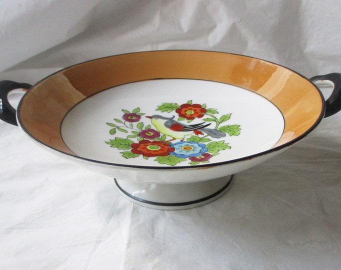 Noritake Morimura Footed Compote Bowl, Orange Luster, Black Handles, Hand PaintedExotic Bird in Garden (1920s)