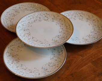 "Noritake China ""Glennis"" Tan and Gray Scroll Pattern Set of Four Bread Plates Dessert Plates Wedding Cake Plates"