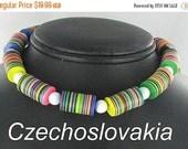 ON SALE Czech Multi Color Wafer Lucite Choker Necklace Vintage Czechoslovakia