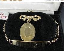 ON SALE Speidel Bracelet Brooch  Boxed Set Signed Vintage - Demi Parure Gold tone