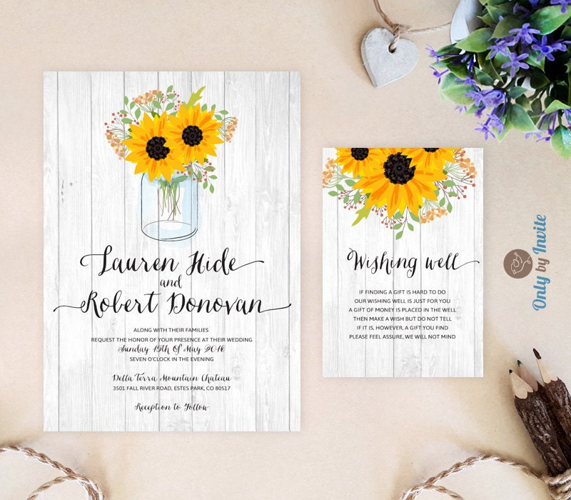 Rustic Wedding Invitations With Wishing Well Card Sunflowers