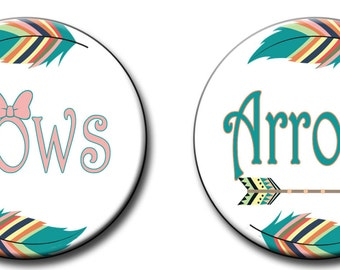 Bows or Arrows Gender Reveal Party Favors 2.25 inch Pinback Buttons pin badges Tribal Gender reveal