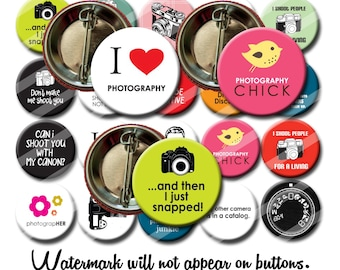 Photography Photographer mixed set 1.25 inch pinback buttons pins badges Camera lover Photo lover Part favors Gift  (set 2)
