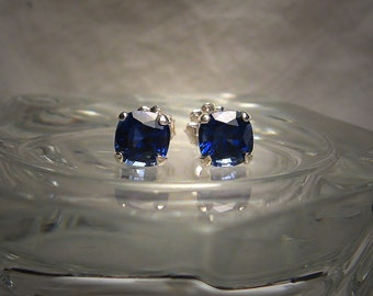 High Quality 6mm Lab Created Blue Sapphire Cushion Sterling Silver Earrings