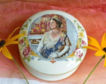 Crown Staffordshire Trinket Box- English, HRH Queen Mother - Orig 49 - Vintage -Fabulous!