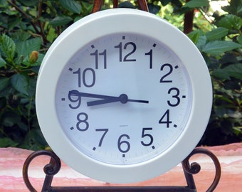 Vintage White Clock - Plastic, Runs on AA Battery, Black Numbers Hands - 1980's - Fabulous!