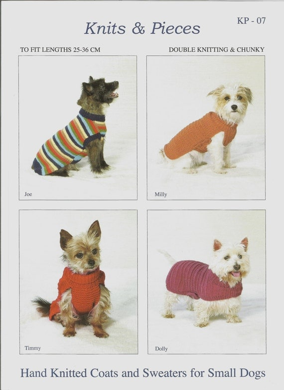 Hand Knitted Patterns For Dog And Cats Coats : Hand Knitted Dog Coats Pattern Knits and Pieces Small Dogs