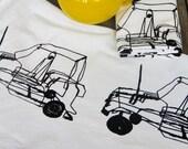 Tea Towel Wire Car design Organic Cotton Tea towel Modern Towel  Screen Printed Black