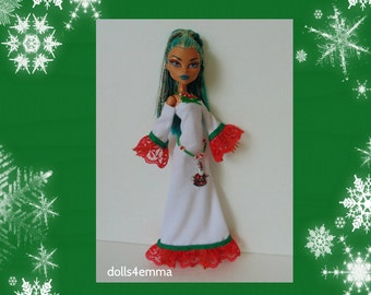 SALE = Monster High Nefera Doll Clothes - Festive Fashion - Handmade Gown Belt and Necklace - Santa Claus - by dolls4emma