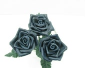 3 Blue Leather Roses Flower Bouquet  Long Stem Green Leather Wife/Girlfriend/Valentines Day Gift