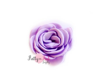 Lavender Satin Blooming Roses- You Choose Quantity- Satin Rosettes- Satin Roses- Rosettes- Flower- Supply- DIY Headbands- DIY Supplies-