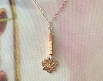 Gold Lotus Flower Lariat Necklace, Lotus Flower Y Necklace, New Beginnings Necklace