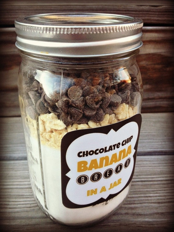 CHOCOLATE CHIP BANANA Bread - Mason Jar Mix - Cookie Mix in a Jar ...