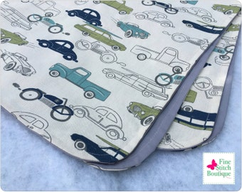 Felix Retro Rides RECEIVING BLANKET - Vintage Cars Receiving Blanket - Baby Boy Receiving Blanket - Cars Receiving Blanket - Made-To-Order