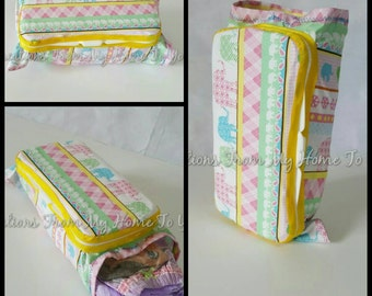 Pink, green, and blue elephant wipe/diaper combo travel case