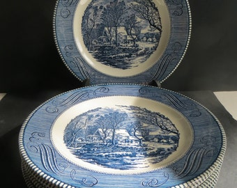 Currier & Ives The Old Grist Mill Dinner Plates Set of 6
