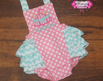 Circust Tent Ruffle Bottom Romper PInk and Turqouise