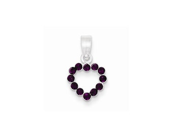 Sterling Silver Purple CZ Heart Pendant