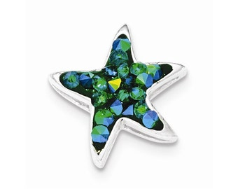 Sterling Silver Blue Crystal Star Pendant