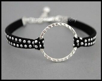 INFINITY Silver Circle Bracelet - Adjustable Stackable Studs Faux Suede Eternity Karma Bangle Bracelet - Instant Ship - USA