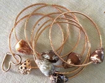 Copper 12gauge Shell Bangle