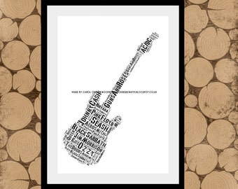 Personalised Rock Guitar, Guitar Word Art, Guitar Word Cloud, Rock Guitar Print, Gift for Guitarist, Personalised Guitar Gift, Guitar Print