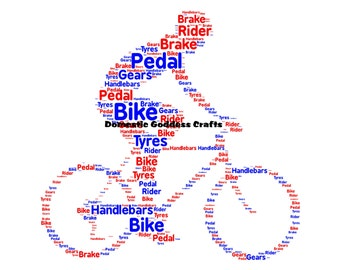 Personalised Bike Print, Bike Word Art, Bike Word Collage, Bike Word Cloud, Cyclist Word Art, Cyclist Print, Gift for Cyclist.