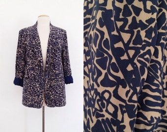 vintage silk blazer / silk jacket womens blazer / 90s clothing print jacket