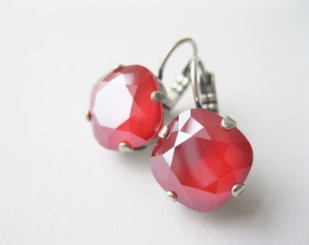 Red Crystal Drop Earrings Christmas Jewelry Rhinestone Earrings Christmas Wedding NEW Swarovski Elements Royal Red Made in Canada