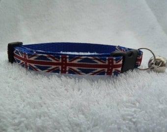 Handmade United Kingdom UK Union Jack Cat Safety Collar With Bell Various Sizes