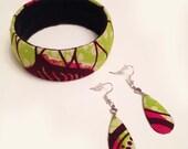 Ankara jewellery gift set, one funky chunky bangle and tear drop earrings, lime and pink African print