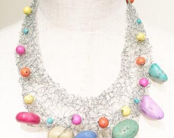 Crochet metal necklace