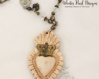 Sacred Heart Necklace - Crowned Heart - Ex Voto Heart Necklace - Milagro Heart - Old World Paris Charm by Winter Pearl Designs