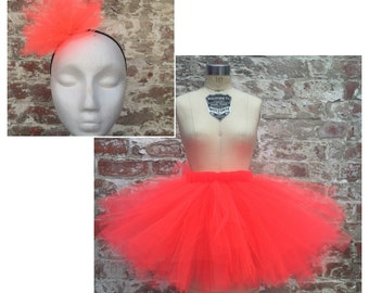 Summer Hot pink/bright coral Tutu size 12-24 Months with headband