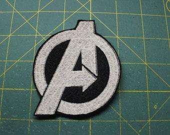 Avengers logo monochrome iron on patch