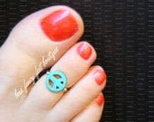 Peace Sign Toe Ring, Peace Sign Ring, Turquoise Stone Ring, Turquoise Ring, Turquoise Stone Toe Ring, Toe Ring, Ring, Stretch Bead Toe Ring