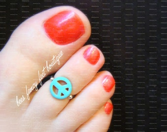 Toe Ring - Turquoise - Peace Sign - Stretch Bead Toe Ring