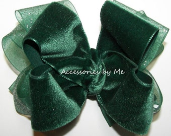 Christmas Hair Bow, Hunter Green Clip, Evergreen Velvet Ribbon Clip, Girls Green Bow Barrette, Pageant Green Bows, Baby Green Bow Hair Piece