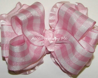 Gingham Hair Bow, Light Pink Check Ruffle Ribbon Hairbow, Girls Baby Toddler Hairbows, Cowgirls Pageant Bows Barrettes, Party Occasion Clips