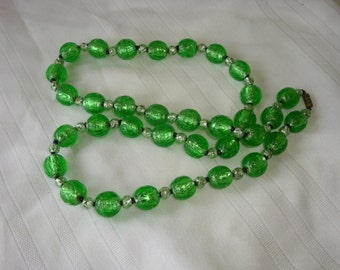 Vintage Green silver foil beads necklace