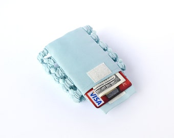 Bracelet wallet Secret mint . Wide bracelet . Bracelet wallet . Bracelet with a pocket for the money . Wrist Wallet . Blue . Mint .