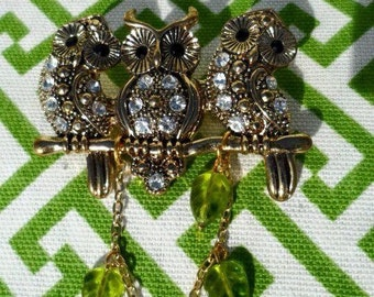 CLEARANCE 1970's Golden Owl Brooch with dangling Leaf beads 50%