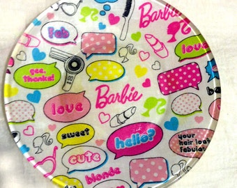 "Handmade 6 3/8"" Round Decorative Fabric Backed Barbie Glass Plate"