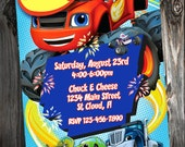 Personalized // Custom // Blaze and the Monster Machines Birthday Party Invitations  // DIY Printable File
