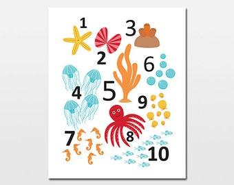 Ocean Numbers Art Print, Under the Sea Counting Artwork, Sea Life Print, Children's Beach Wall Art