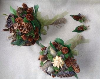 Winter woodland wedding bridal / bridesmaids bouquet set with boutonnieres  pine cone bouquets alternative winter bouquet rustic wedding